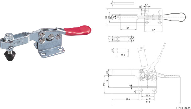 Waagrechtspanner Horizontalspanner mit waagrechtem Fuß CH-201-B CH-201-BI