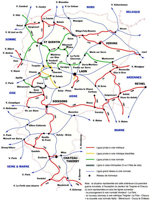 Réseau ferré de l'Aisne avant 1914