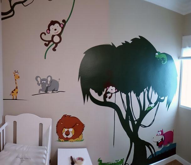 vinilo habitación infantil, animales divertidos