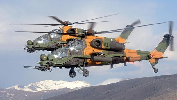 """Una coppia di T129 """"Atak"""" una versione costruita su licenza dalla TAI turca. (Foto: Agusta Westland)"""