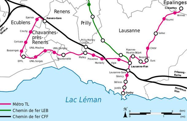 ------ Líneas férreas en Lausanne