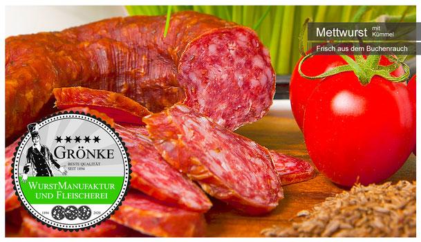 Gereifte Mettwurst mit Kümmel; hausgemachte gemachte Qualität vom Fleischermeister