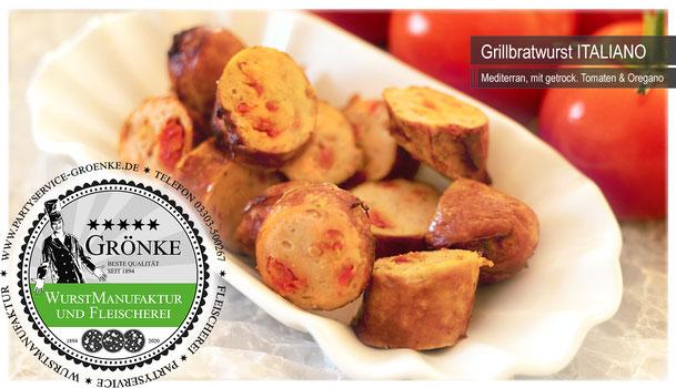 Grillwurst mit Italiano, frisch aus der Wurstmanufaktur Grönke