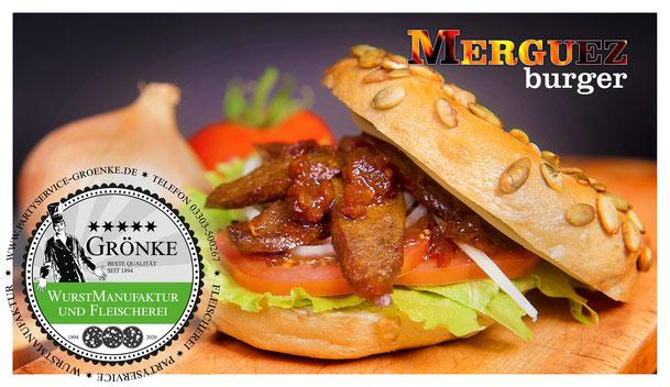 Merguez-Burger im Bagel direkt auf die Hand