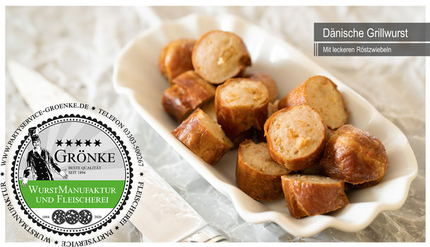 """Grillwurst mit Röstzwiebeln, die """"dänische"""" Variante"""