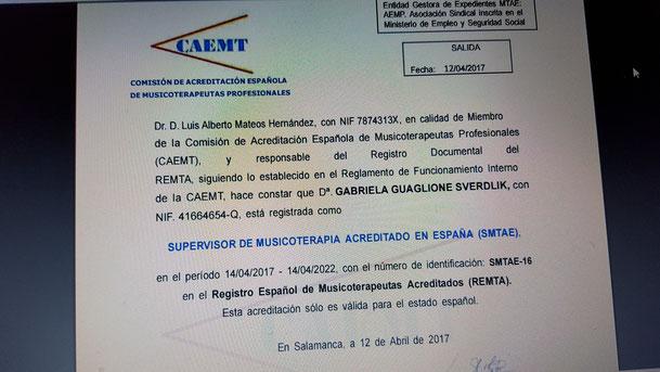 Certificado otorgado a Gabriela Guaglione.
