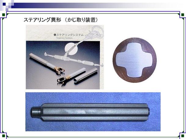 ステアリング,磨き棒鋼,みがき棒鋼,磨棒鋼,異形シャフト,精密異型シャフト,自動車,