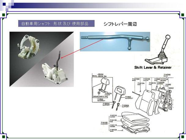 シフトレバー,ヘッドレスト,磨き棒鋼,みがき棒鋼,磨棒鋼,異形シャフト,精密異型シャフト,自動車,