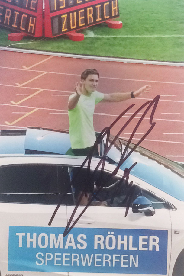 Thomas Röhler, Germany, Javelin throw, Olympic Gold 2016, personal Best 93.30m, Picture taken at Diamond League Meeting in Zürich 2016, Autograph by Mail