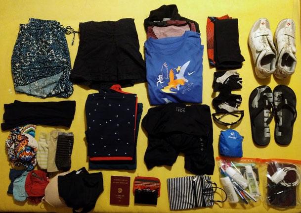 Gepäck für unseren 2-wöchigen Urlaub mit dem Rennrad
