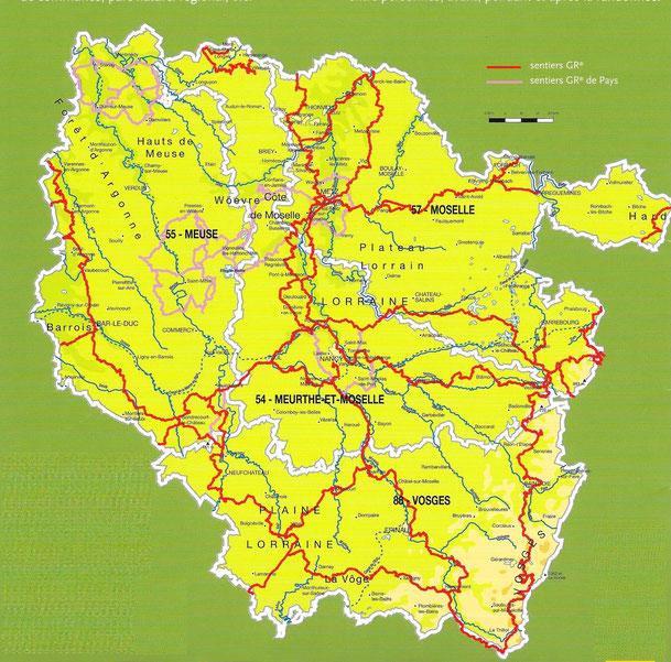 Carte des GR de Lorraine