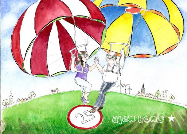 Aquarell Illustration Fallschschirmsprung Ehepaar Silberhochzeit Kerken Eyll