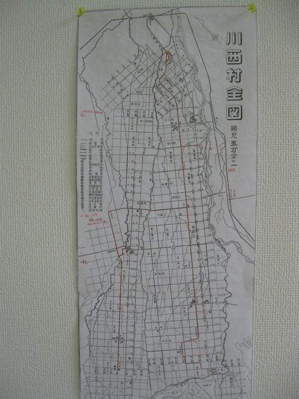 軽便鉄道の路線図が表示された川西村全図