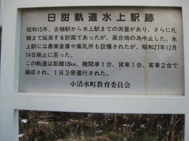 小清水鉄道 日甜軌道水上駅跡 説明看板