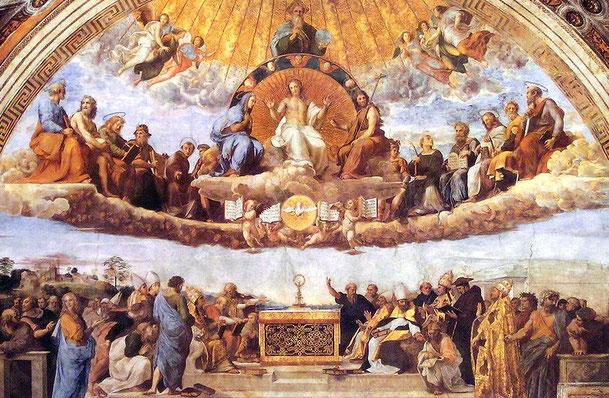 ラファエロ・サンティ「聖体の論議」、1508-1511年、バチカン美術館所蔵