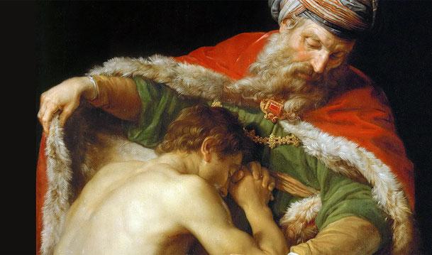 ポンペオ・バトーニ「放蕩息子の帰還」、1773年、ウィーン美術史美術館