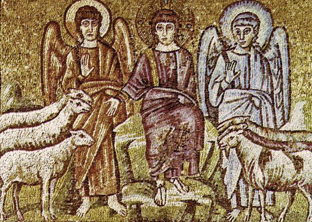 「キリスト、羊と山羊を分ける」、6世紀、サンタポリナーレ・ヌオヴォ聖堂(イタリア・ラヴェンナ)