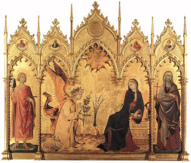 シモーネ・マルティーニとリッポ・メーミ「受胎告知と二人の聖人」、1333年、フィレンツェ・ウフィツィ美術館所蔵