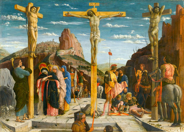 アンドレア・マンテーニャ「キリストの磔刑」、1457-60年、ルーブル美術館