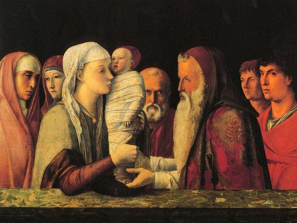 ジョヴァンニ・ベッリーニ「神殿でのイエスの奉献」、1459年頃、クエリーニ・スタンパリア美術館(ベネチア)所蔵