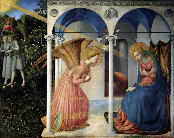 フラ・アンジェリコ「受胎告知」、1430~1432年、プラド美術館所蔵