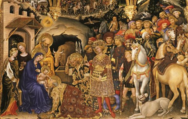 ジェンティーレ・ダ・ファブリアーノ「東方三博士の礼拝」、1423年、サンタ・トリニタ教会(フィレンツェ)
