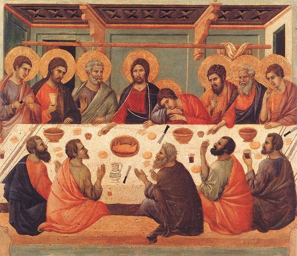 ドゥッチョ・ディ・ブオニンセーニャ「最後の晩餐」、1308ー1311年、ドゥオーモ大聖堂メトロポリターナ美術館