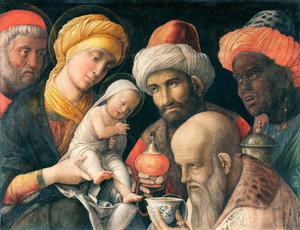 アンドレア・マンテーニャ「東方三博士の礼拝」、1500年、J・ポール・ゲティ美術館