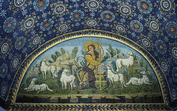 「善き牧者」、ガッラ・プラキディア廟堂(by Petar Milošević from WIKIMEDIA COMMONS)
