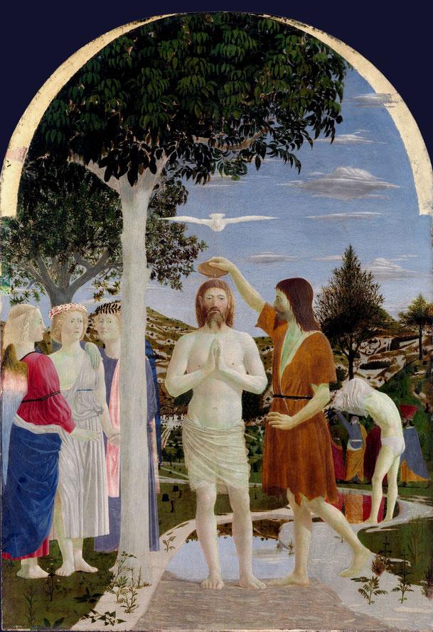 ピエロ・デッラ・フランチェスカ「キリストの洗礼」、1470年代、ナショナル・ギャラリー(ロンドン)