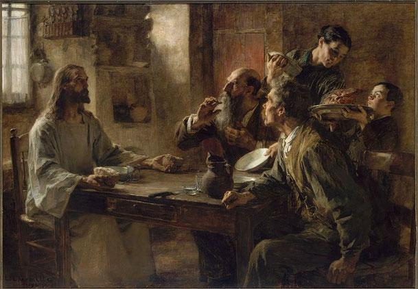 レオン・レルミット「謙虚な人たちの友(エマオの晩餐)」、1892年、ボストン美術館