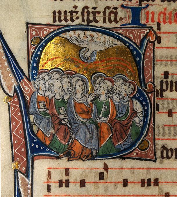 ミサ典書「聖霊降臨」、1310-20年、ウェールズ国立図書館所蔵