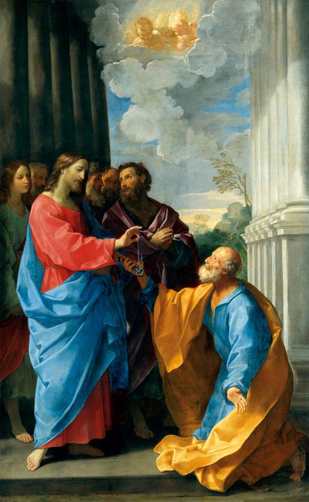 グイド・レーニ「キリスト、聖ペトロに鍵を授ける」、1625年、ルーブル美術館所蔵
