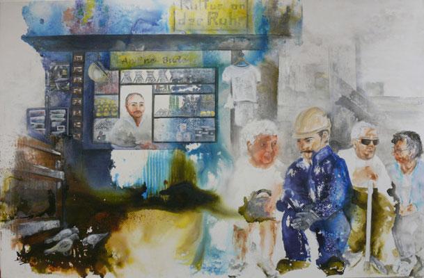 Pottgeflüster, Dorothee Impelman, Mixed media auf Canvas aufgezogen auf Keilrahmen, Werk 2015, tOG, take OFF GALLERY, Galerie, Gallery, Düsseldorf, Duesseldorf, Germany
