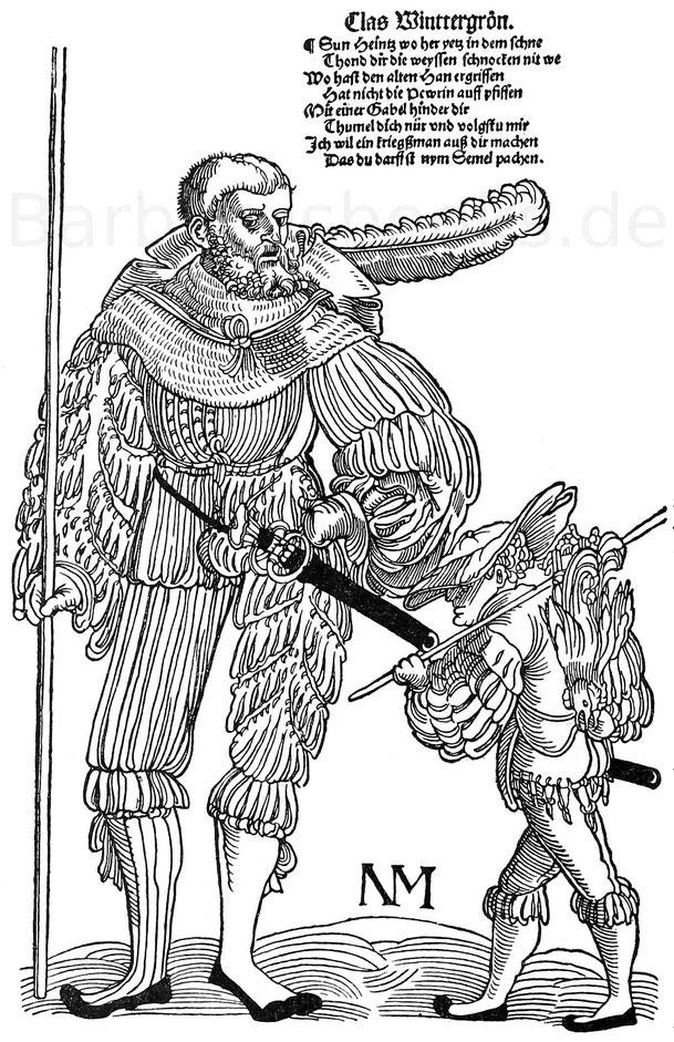 Der alte Soldat und der Bäckerjunge. Holzschnitt. Fliegendes Blatt von Nicolaus Meldemann in Nürnberg um 1530. P. 15.