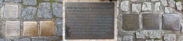 Stolpersteine erinnern an ermordete Kinder. Außerdem ist an einem der Gebäude eine Gedenkplatte angebracht (Fotos per Klick vergrößerbar). (Fotos: J. Frick)