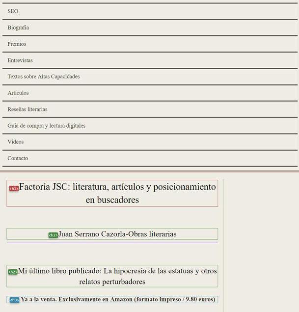 Análisis SEO de una web con Web Developer: página linearizada