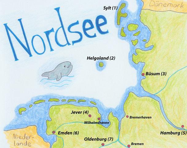 Eine Karte von Norddeutschland (Zeichnung/Foto: Patrick Klapetz)
