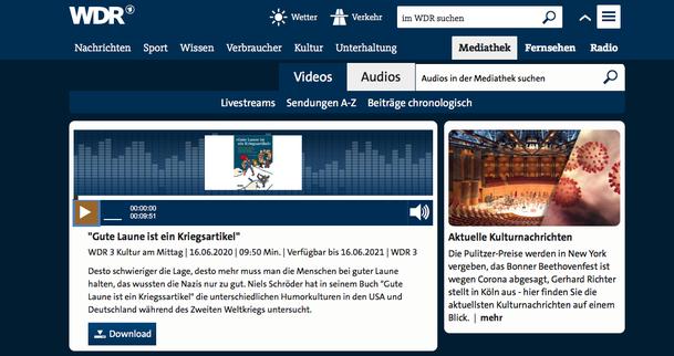 """""""Gute Laune ist ein Kriegsartikel"""" heisst das neue Buch von Niels-Schröder. Dazu gibt es ein neues Interview auf WDR3, das den Autor befragt."""