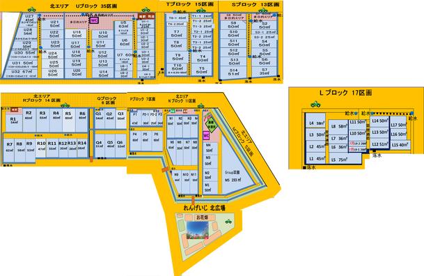 上津橋市民農園れんげいじファーム  北エリア区画図