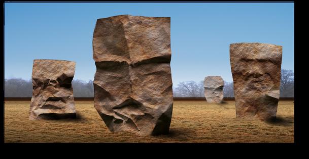 Riesige Steinköpfe auf einer Ebene. geheimnissvolle große Köpfe aus Stein. Vier megalithische Köpfe auf eier Ebene.