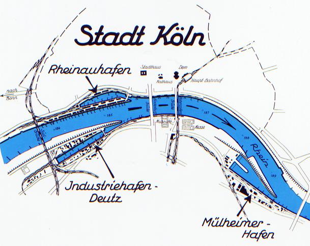 Ausschnitt aus Lageplan der Kölner Hafenanlagen von 1937.