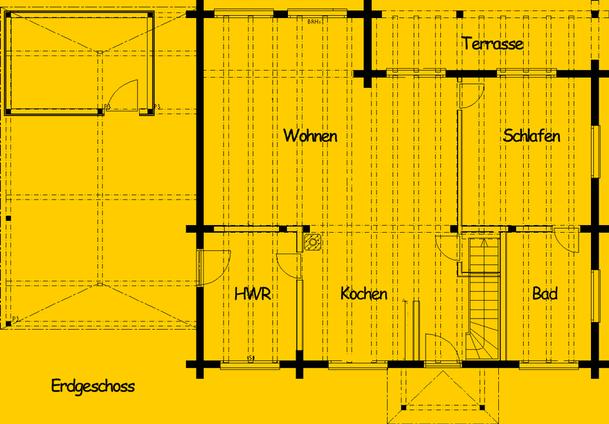 Blockhaus Barsinghausen: Wohnfläche EG 90,5 m² - © Blockhaus-Profi