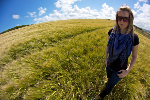 self portrait in a field, fish eye lens - Kernow Dream Photography