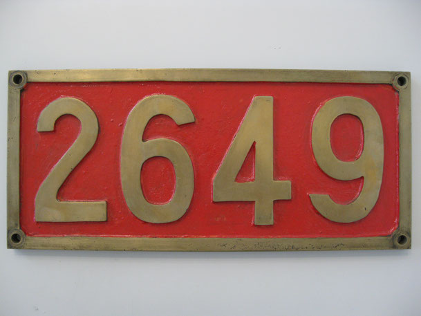 蒸気機関車2649号車輌銘板