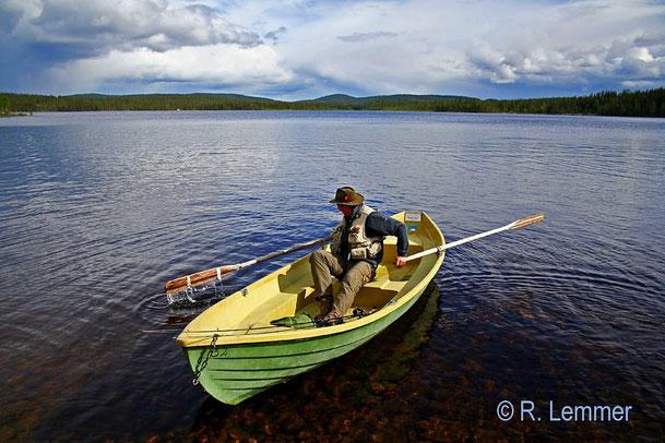 Seesaibling angeln im Rackosjön See