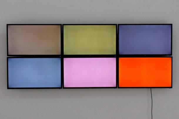 Daniel Schörnig  REFLEXION II, 2021  Video, 6 screens, wall installation