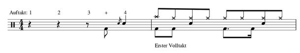 Takte Musik Auftakt Beispiel Definition 4/4