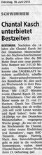 Chantal Kasch unterbietet Bestzeiten. Buxtehuder Tageblatt vom 18.06.2013