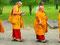 Einzug der Moderne - Mönch mit Tablet während einer Prozession zum Borubudur Tempel